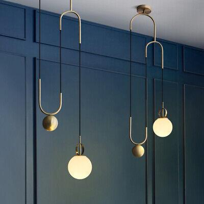 Modern Golden Metal Pull Down Ceiling Pendant Lights With One White Gl Globe Ebay