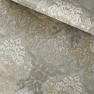 Paper-Wallpaper-rolls-wall-coverings-vintage-damask-olive-green-beige-textured