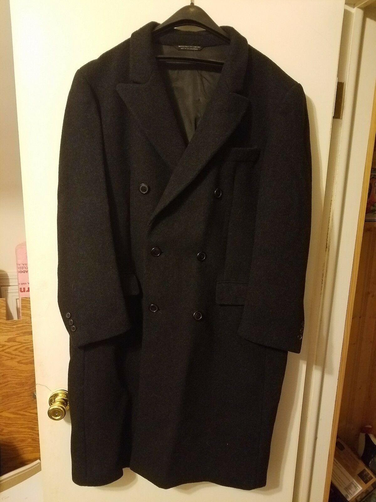Vintage Czechoslovakian Made Pure Wool Double Breasted Overcoat  44Reg Charcoal