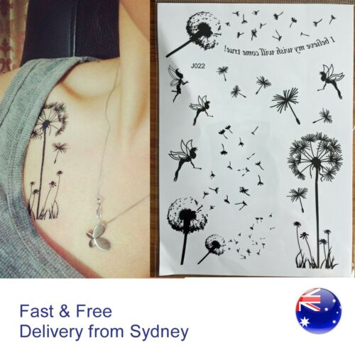 Dandelion flower and fairy temporary Tattoo dream big black tatoos body
