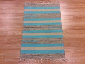 Striped Blue Orange Handloomed 100% Cotton Rag RUG Durrie Mat 60x90cm 2x3 50%OFF
