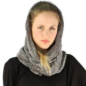 Winter-Unisex-Long-Pullover-Knit-Single-Loop-Tube-Infinity-Hood-Cowl-Scarf-Gray