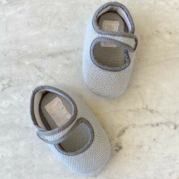 Unisex Baby Hermes Knit Booties Ash Blue Snap On Crib ...