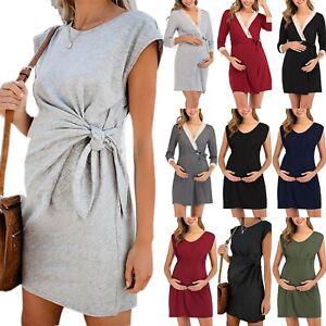 Pregnant Womens Maternity Clothes Breastfeeding Summer Nursing Casual Mini Dress Ebay