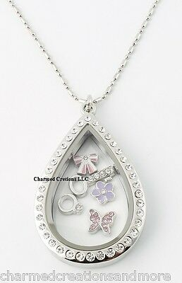 """Large Teardrop CZ Silver Floating Charm Memory Locket Necklace & 28"""" Long Chain"""