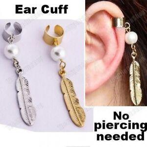 4e9bf1f7a PEARL&METAL FEATHER CHARM EARCUFF earring NON-PIERCED ear cuff GOLD ...