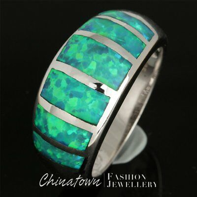 Kiwi Green Fire Opal Inlay Silver Jewelry Wide Band Ring Size 7