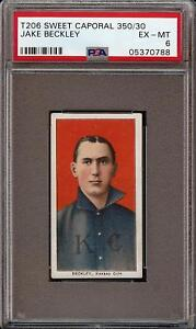 Rare-1909-11-T206-HOF-Jake-Beckley-Sweet-Caporal-350-Kansas-City-PSA-6-EX-MT