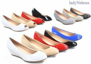 NEW-Women-039-s-Round-Toe-Open-Toe-Patent-Glitter-Low-Wedge-Pump-Shoes-Size-5-10