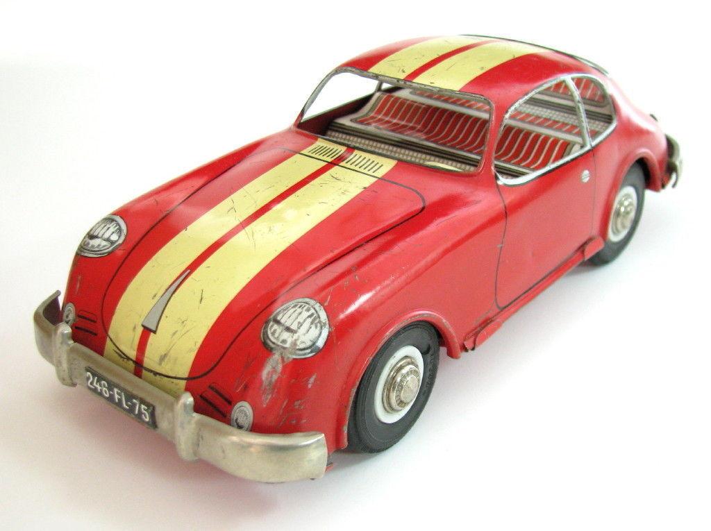 VTG RARE EARLY FRENCH TIN TIN TIN FRICTION TOY CAR PORSCHE 356 FRANCE MADE JOUSTRA    1fc764