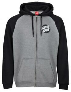 SANTA-CRUZ-OTHER-DOT-ZIP-HOODY-BLACK-DARK-HEATHER
