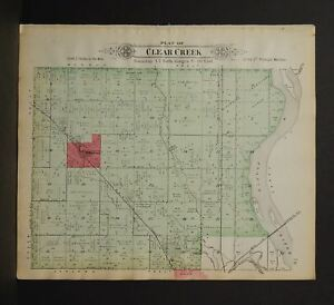 Nebraska Saunders County Map Wahoo Township 1907 Double Side