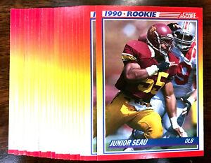 1990-Score-JUNIOR-SEAU-RC-20-CARDS-LOT-USC-SAN-DIEGO-CHARGER-HOF