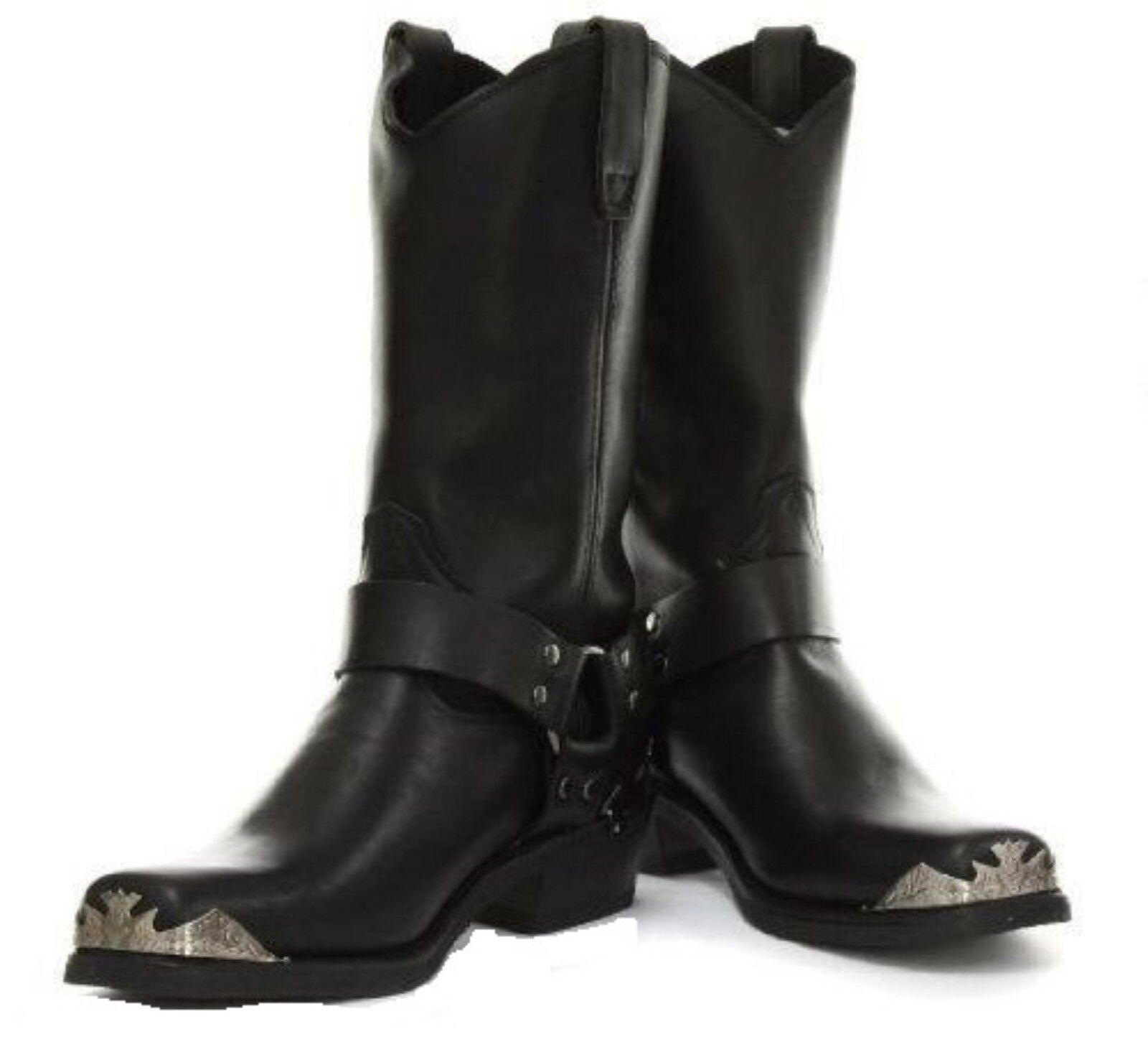 Grinders Rare Eagle High Cowboy Biker Black Leather Boots Western Unisex