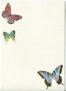 VINTAGE RAINBOW COLORS EMBOSSED BUTTERFLIES GOLD STATIONERY LITHOGRAPH ART PRINT