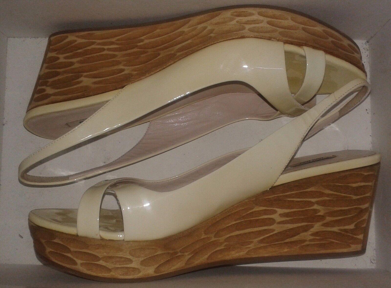 Miu Miu (Prada) Light Mustard Wedge Heel Slingback Sandals - UK 5.5   EUR 38