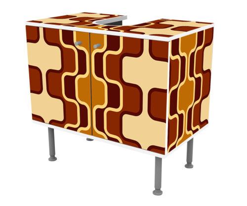 Badunterschrank Retromuster Braun Muster Designschrank Bad Unterschränke
