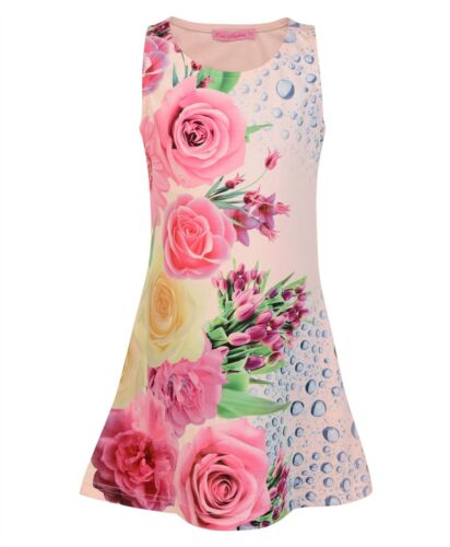 Girls Fitted Style Floral Print Mini Dress Kids Sleeveless Summer Party Top 3-14