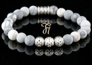 Jaspis-Armband-Bracelet-Perlenarmband-Silber-Beads-Buddha-weiss-grau-matt-8mm