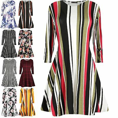 Womens Summer Print Flared Long Sleeve Ladies Party Mini Swing Skater Dress 8-26