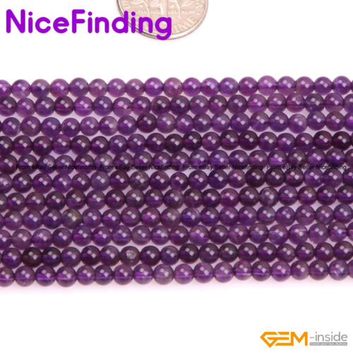 Natural Round Amethyst Genuine Gemstone Beads For Jewellery Making Free Shipping