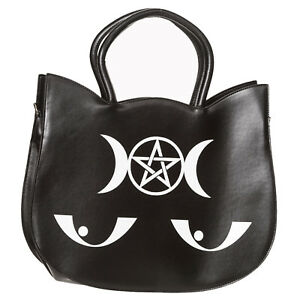 913453fe08b Banned Wishbone Cat Face Black Faux Leather Goth Pentacle Witch ...