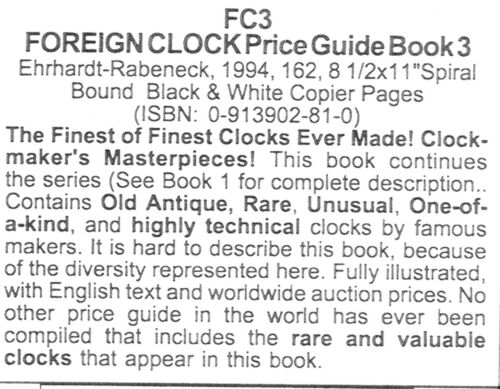 Roy Ehrhardt /& Red Rabeneck Foreign Clock Identification /& Price Guide Book 3