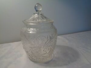 Vintage Clear Sandwich Glass Cookie Jar Original Ebay