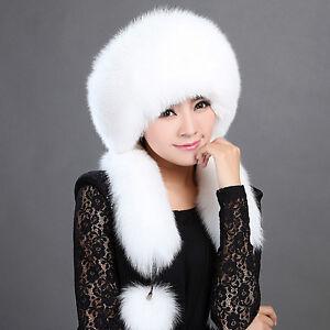 5990be2c919 Women Real White Fox Fur Hat Russian Winter Neck Warmer Ear Cap ...