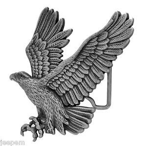 descendant-en-pique-aigle-americain-3D-boucle-ceinture-ANTIQUE-effet-argente