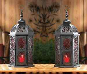 Image Is Loading 10 Red Black Moroccan 16 034 Lantern Candle