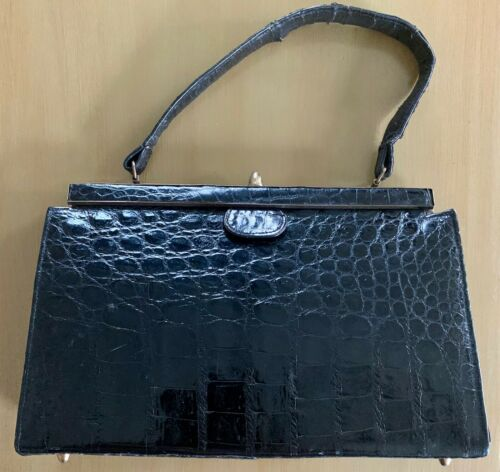 Vintage Alligator by Vassar Handbag Purse Black