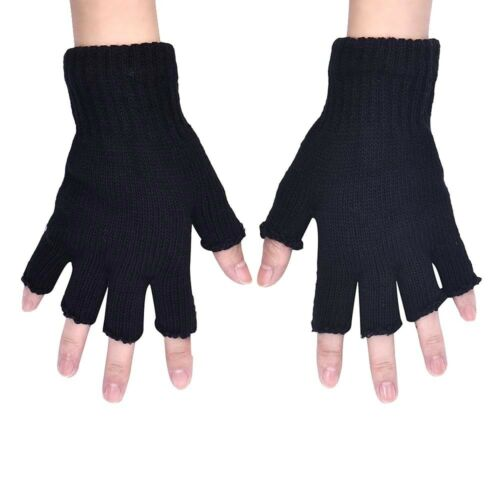 UNISEX BLACK FINGERLESS WARM STRETCHY KNITTED WOOL GLOVES ONE SIZE