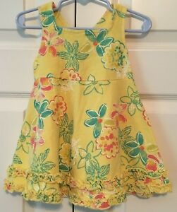 96556e61399 Fresh Produce sundress toddler sz 12 mo yellow pink floral tropical ...