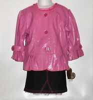 Xoxo Girls Faux Leather Jacket Denim Skirt & Short Sleeve Top Pink 6x