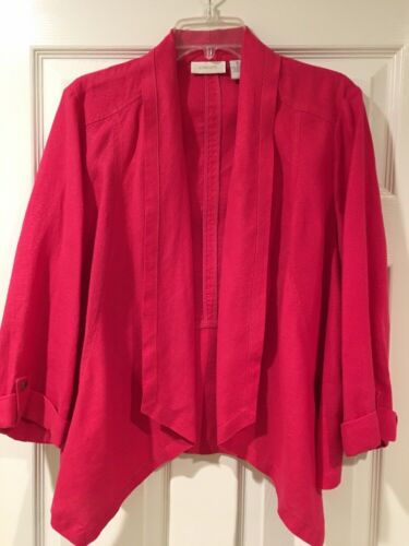 CHICOS 1 Bright Pink Linen Open Front Jacket Casua