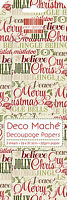 3 SHEETS OF DECOUPAGE / DECO MACHE PAPER FIRST EDITION XMAS WORDS
