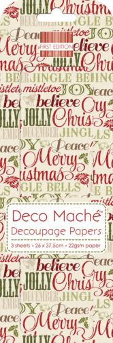 3 hojas de papel maché Decoupage//Deco Primera Edición Navidad palabras