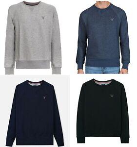 GANT SHIELD Mens Sweatshirt Crew Neck Long Sleeve Pullover Jumper Dark Graphite