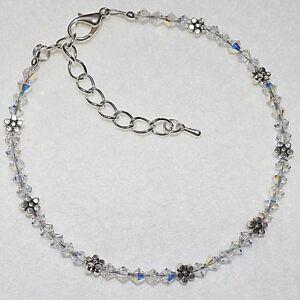 Ab Swarovski Crystal Elements Daisy Chain Flower Wedding Ankle