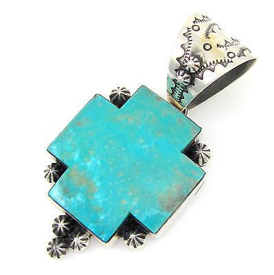 Big DAN DODSON Southwestern Sterling Silver Turquoise Square Cross Pendant  | G