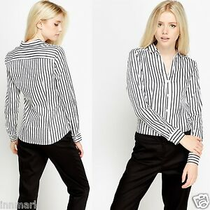 BUSINESS-STYLISH-STRETCH-LONG-SLEEVE-STRIPED-BUTTON-BLOUSES-WHITE-SHIRT-712