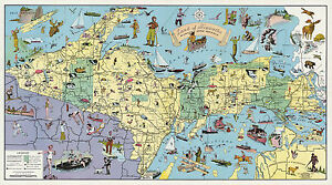 Details about Pictorial Map Land of Hiawatha Michigan's Upper Peninsula on county map of upper michigan, map of upper peninsula michigan, map upper peninsula mich, map of upper mi,