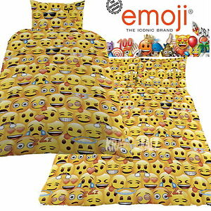 Official-Emoji-Icons-Single-Double-Panel-Duvet-Cover-Bed-Set-New-Gift-Smiley
