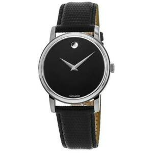 New Movado Museum Classic Black Round Dial Black Leather Men's Watch 2100002