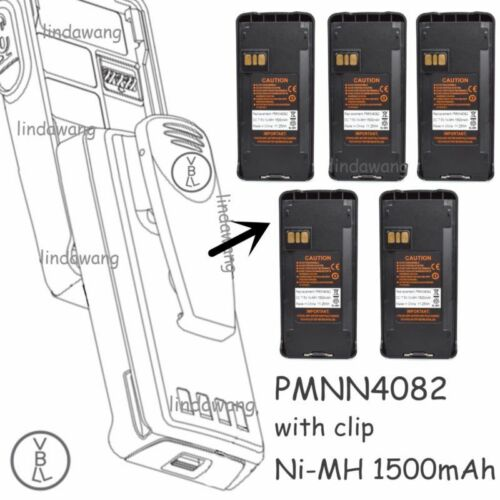 5x PMNN4082 1500mAh Ni-MH Battery For MOTOROLA CP185 P185 CP476 EP450 Radio