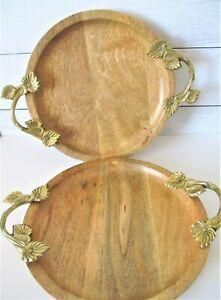 2-Vintage-Round-Wood-Trays-with-Vine-Brass-Goldtone-Handles-HTF-MCM-Oak