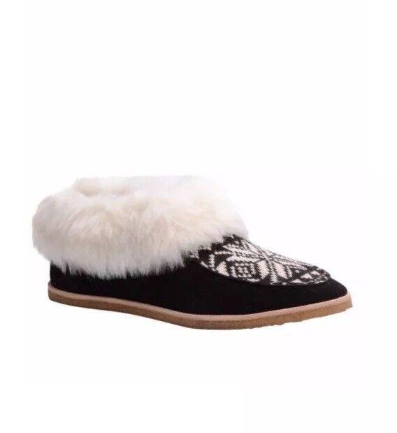 Splendid 'Bettie' Suede & Faux Faux Faux Fur Black Fair Isle Booties - size 6.5M  138 Ret c4cdbe