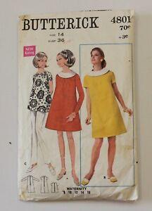 346fbec8abec2 Vintage Butterick 4801 - Maternity Dress or Top - 1960s - Size 14 (36 ...