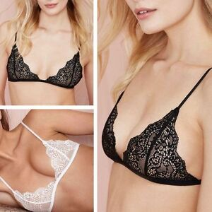 88e55688457b4 Image is loading Women-Sexy-Lingerie-Floral-Sheer-Lace-Triangle-Bralette-
